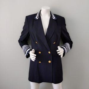 Vtg 80s Escada Sequin Collar Cuff Naval Blazer 38